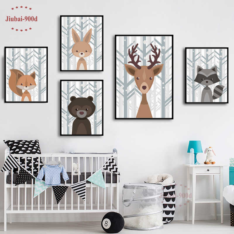 Kids Room Cartoon Pictures Nordic Deer Fox Bear Forest Canvas Poster Minimalist Painting Jungle Animal Wall Art Print and Poster