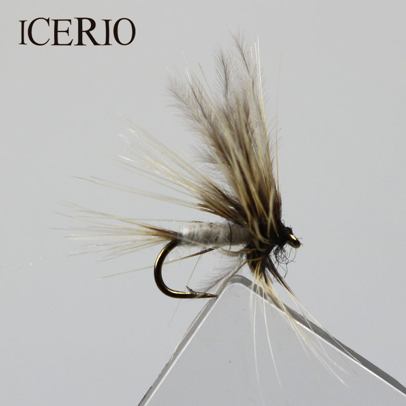 ICERIO 8PCS Grey Mosquito Mayfly Dry Flies Trout Fly Fishing Lures #14