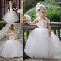 Cute Toddler Flower Girls Dresses For Weddings 2018 Newest Lace Tulle Tutu Ball Gown Infant Children Wedding Dresses Party Dress