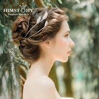 Himstory Spikling Retro Gold Wheat Hair Tiara Crown Headband Zircon Cubic Bridal Wedding Party Hair Accessories Headpiece