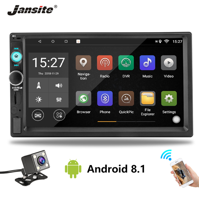 """Jansite 7 """"2din カーラジオデジタルプレーヤータッチスクリーンアンドロイド 8.1 マルチメディアプレーヤーミラーリンク Autoradio サポートバックアップカメラ"""