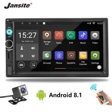 """Jansite 7 """"2din araba radyo dijital oyuncu dokunmatik ekranı Android 8.1 multimedya oynatıcı ayna bağlantı Autoradio destek geri görüş kamerası"""