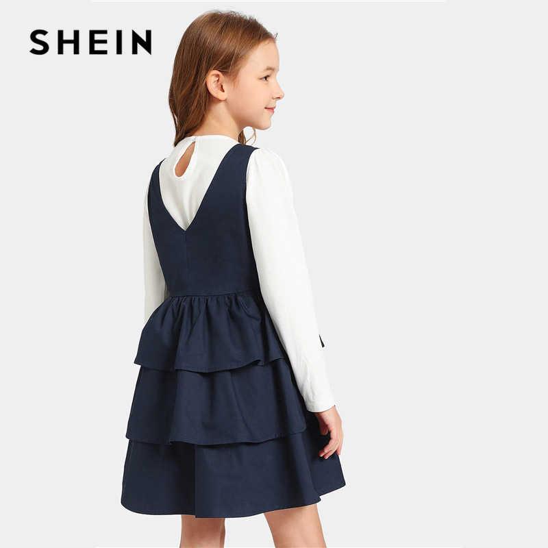 SHEIN детское короткое платье для девочек-подростков с оборками и пуговицами спереди, 2019 летние многоуровневые платья для девочек