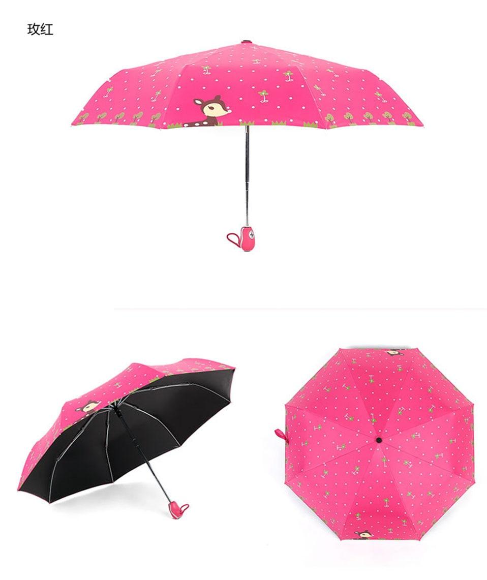 Cute Full Automatic Reinforced Kids Umbrella Three Folding Female Parasol Umbrella Rain Women Windproof pocket folding Umbrella (4)