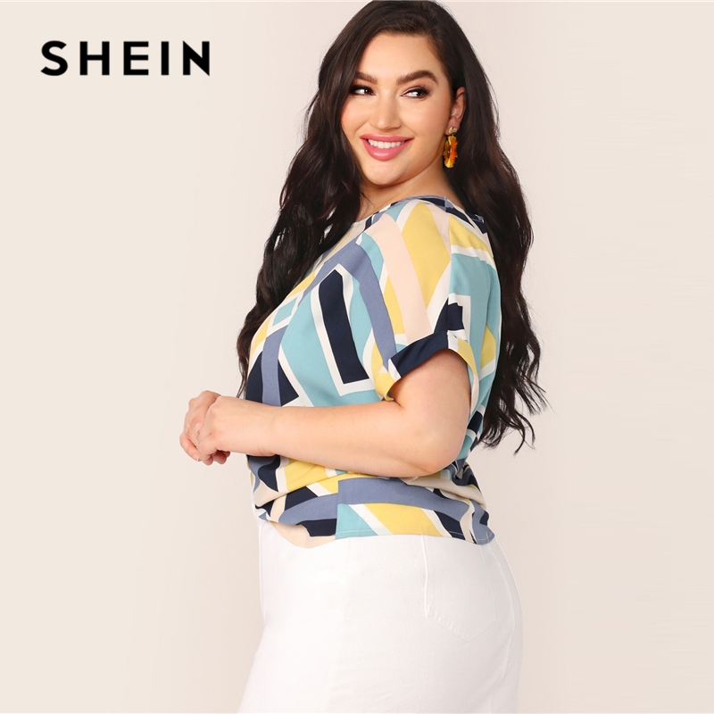 SHEIN Plus Size Multicolor Geo Print Cuffed Sleeve Top Blouse Women Summer Casual Colorblock Boat Neck Roll Up Sleeve Blouses 2