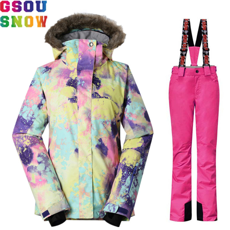 GSOU SNOW Brand Winter Ski Suit Women Ski Jacket Pants Waterproof Snowboard Set Jacket Pants Female Outdoor Skiing Snow Clothes gsou snow brand ski suit women ski jacket snowboard pants waterproof cheap skiing suit female winter snowboard sets outdoor coat