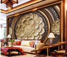 3d wallpaper for room Wood carving flowers backdrop custom 3d photo wallpaper living 3d wallpaper(China)
