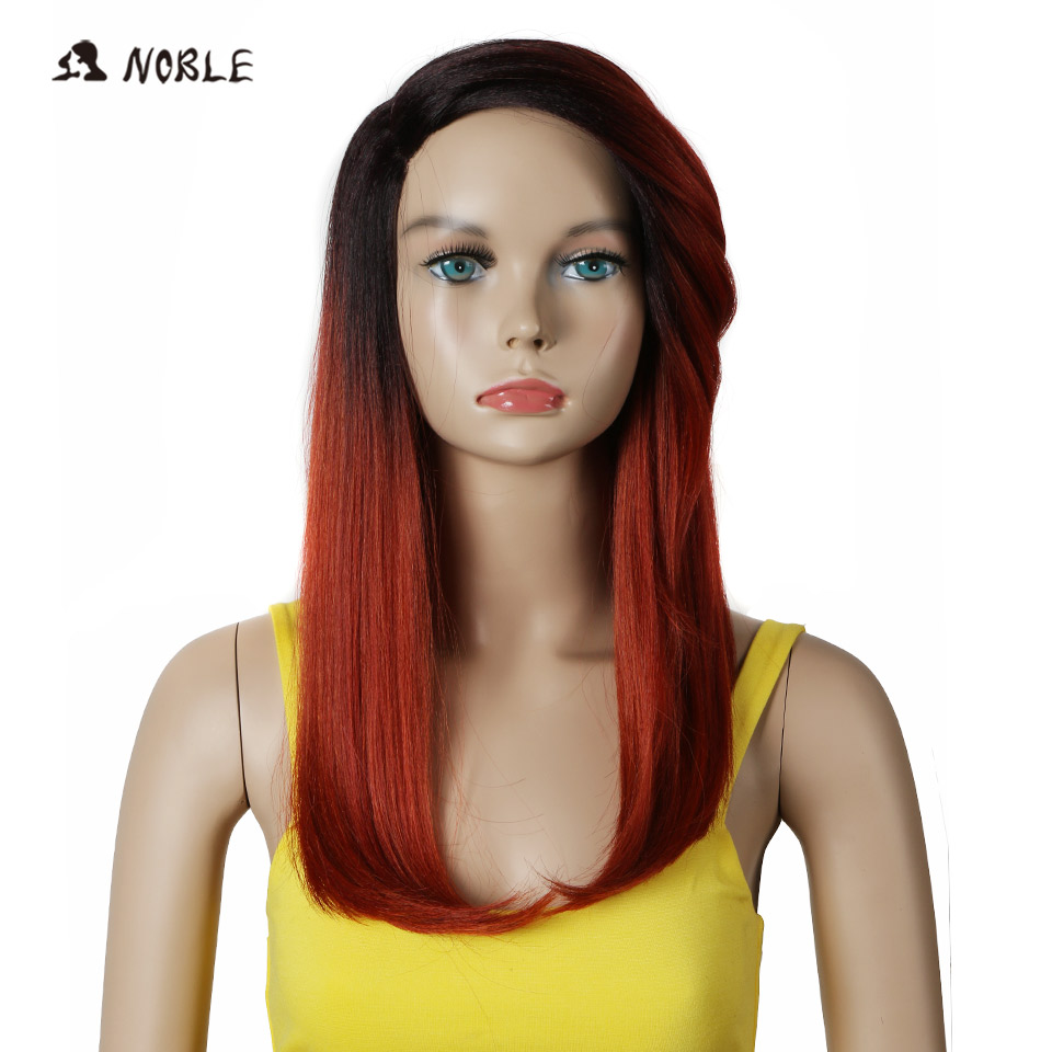 Noble Trendy Lace Wig Kanekalon High Temperature Straight Synthetic Hair Wigs For Black Women Ombre 99J Cosplay Wig FreeShipping ...