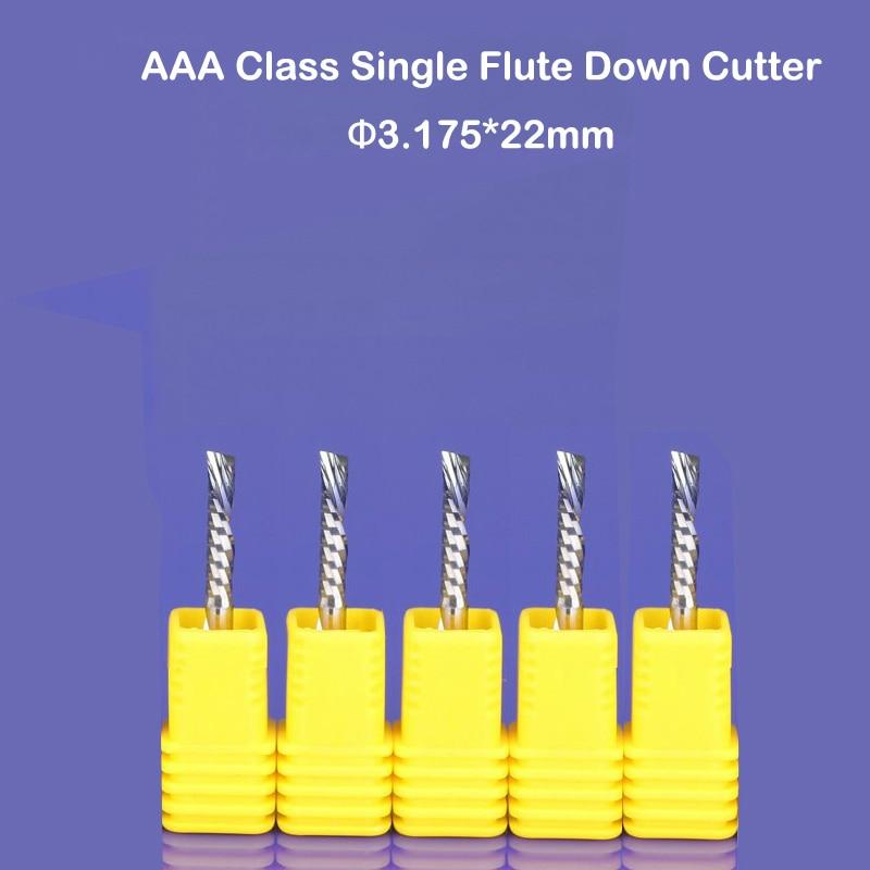 2Pcs 1//8 Single Flute Spiral End Mill Carbide CNC Milling Cutter Bits 3.175x17mm