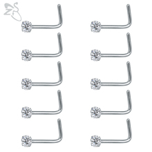 ZS 10 pcs/lot 20G Nose Piercing Jewelry 316L Stainless Steel
