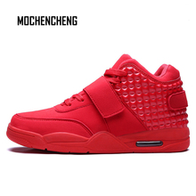 Man's Sneakers High Top Dad Shoes Air Cushion Hook & Loop Lace-up Buckle Flat Chunky Wedge Male Man's Rubber Sneaker Shoes