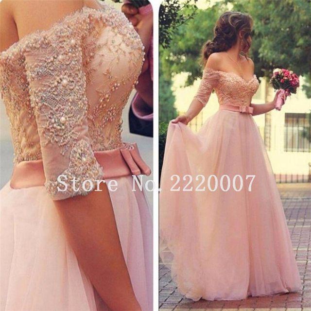 Tienda Online De Encaje de color rosa vestidos de dama de Honor del ...