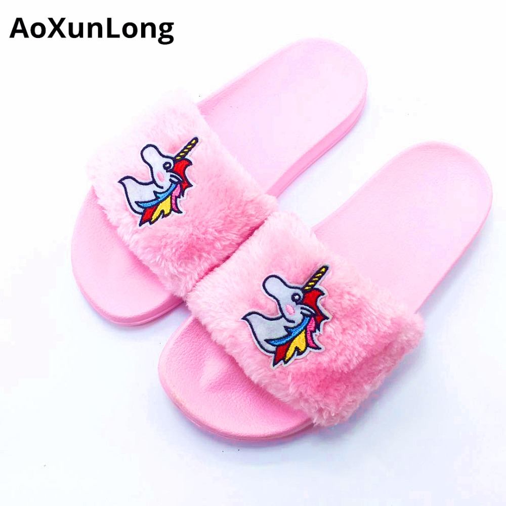 Zapatillas Unicornio New Fashion Plush Home Slippers Zapatos planos - Zapatos de mujer