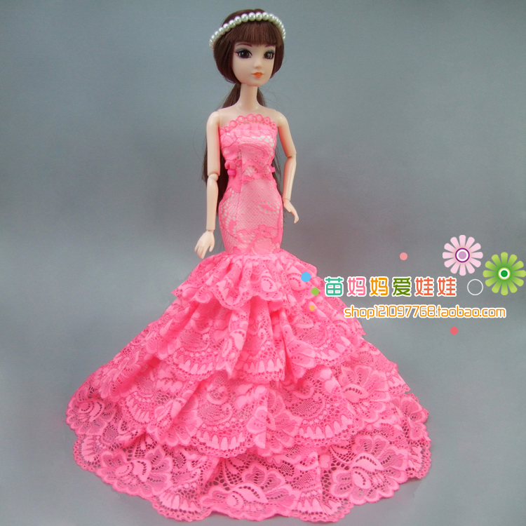 ∞Luxury Bride Wedding Dress Elegant Princess Gown Outfit For Barbie ...
