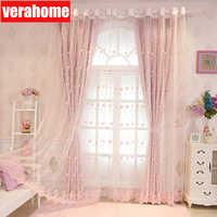 Korean pastoral pink blackout Princess curtains for girls kids Living room bedroom windows treatment sheer tulle romantic screen