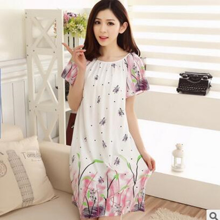 2018 Free Shipping Woman Spring Summer Dress Cotton Nightgown Girl's Soft Sleepshirts Female Sleepwear Plus size Nightgowns XXL 3