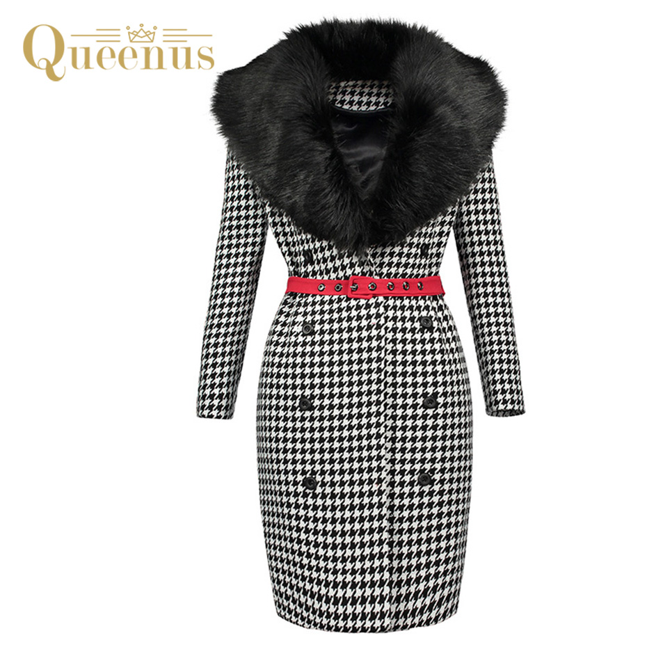 Queenus 2017 Autumn Winter Women Straight Coat Fur Collar Red Belted Knee Length Houndstooth Office lady Straight Fashion Coats