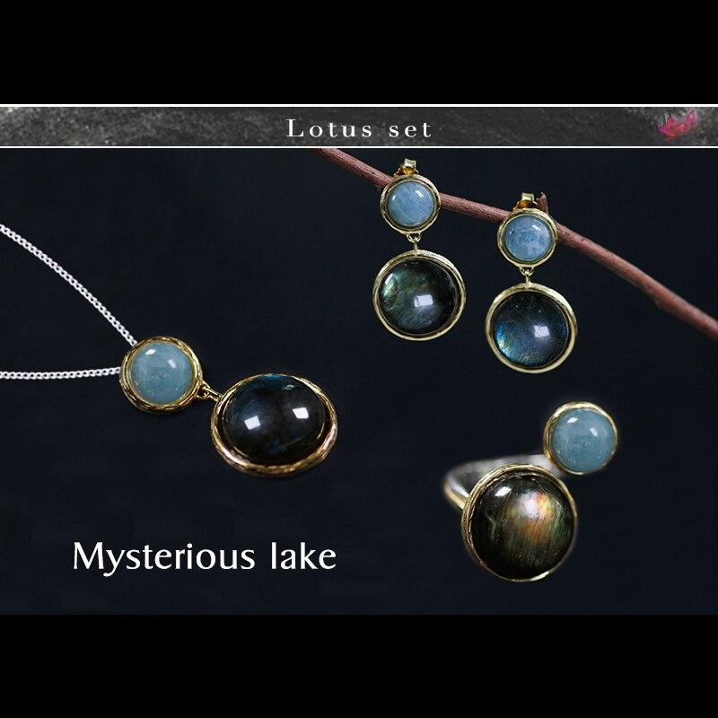 Lotus Spaß Echt 925 Sterling Silber Natürlichen Handgemachten Feinen Schmuck Mysterious See Schmuck Set Mit Ring Ohrring Anhänger Halskette