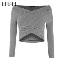 HYH Haoyihui Femme Spring Fashion Stylish Sexy Off-the-shoulder Midriff-baring Shirt Classic Black White Striped Undershirt sexy midriff baring tops