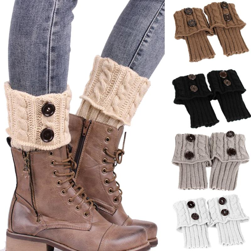 Winter Women Twist Crochet Knitted Button Cuffs Toppers Short Leg Warmers Boot Socks Female Girls Winter Warm Fashion Boot Socks