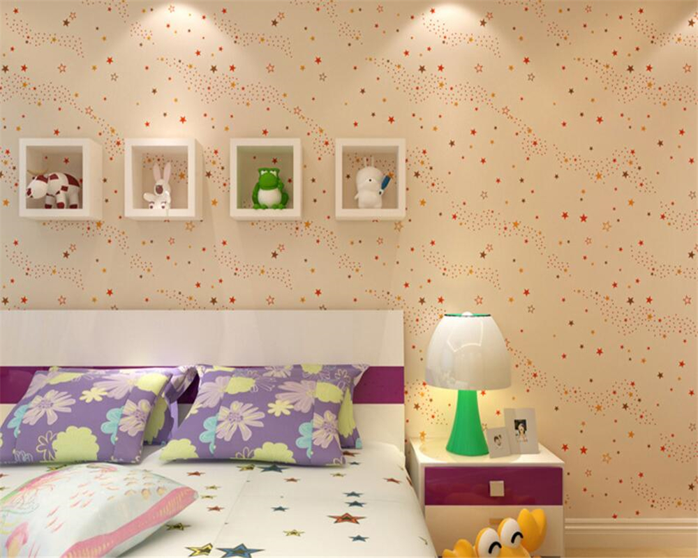 Beibehang Modern 3d wallpaper warm blue. Yellow star cartoon bedroom ...