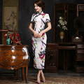 Shanghai Story Vintage Qipao dress Chinese Hand-Made Painted Blend Cotton Cheong-sam Long Evening Dress Cheongsam Yellow