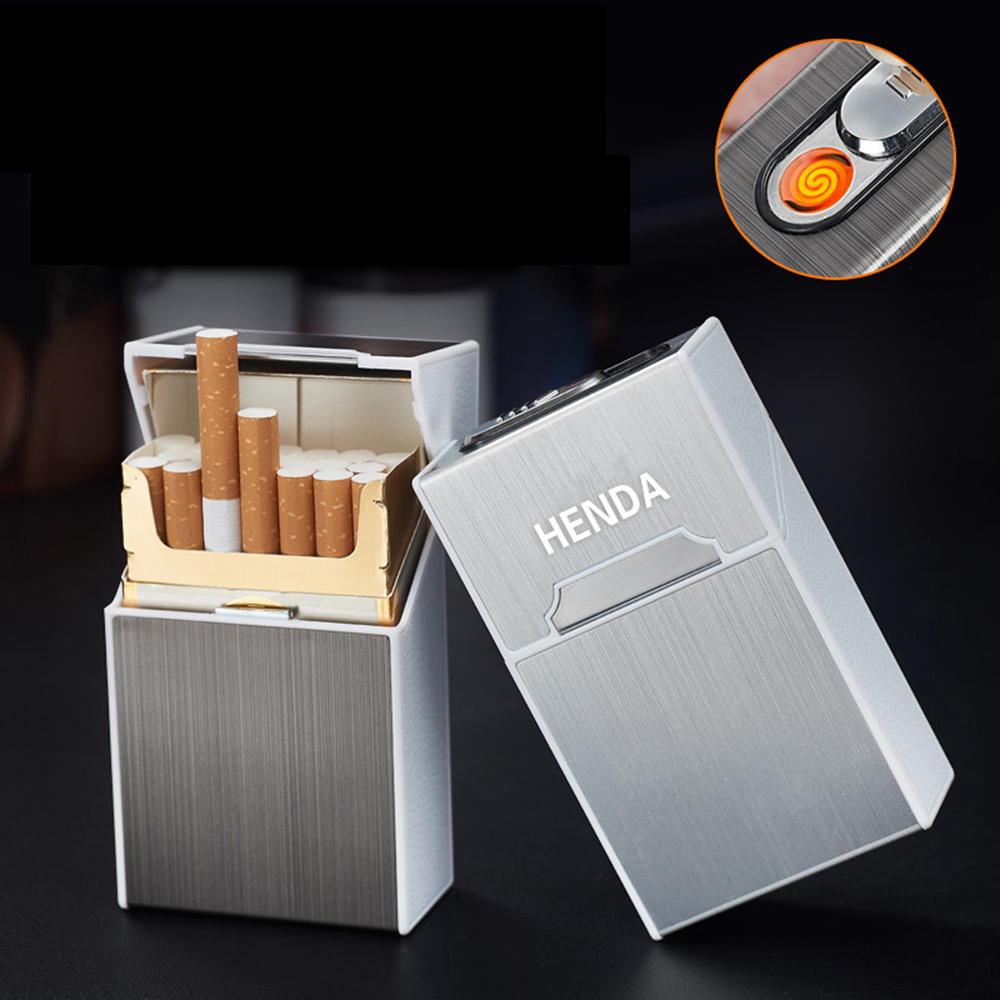 20 pcs Cigarettes Holder Container Pocket Cigar Cigarette Case Box with Flameless Electronic Lighter Windproof Coil Lighters