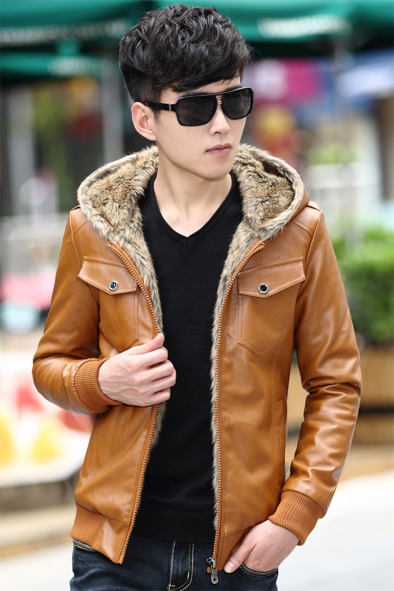 M~3XL! 2016 Motorcycle leather clothing male teenage slim velvet thickening outerwear leather jacket outerwear singer costumes 73