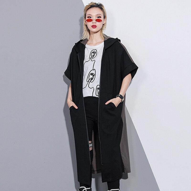 coat D'été Mode Abrigo Black Streetwear Femmes Capuche À Pardessus Manteau Long Trench Printemps Mujer Nouveau Courtes Manches Et 2019 Cardigan 4qIaAq