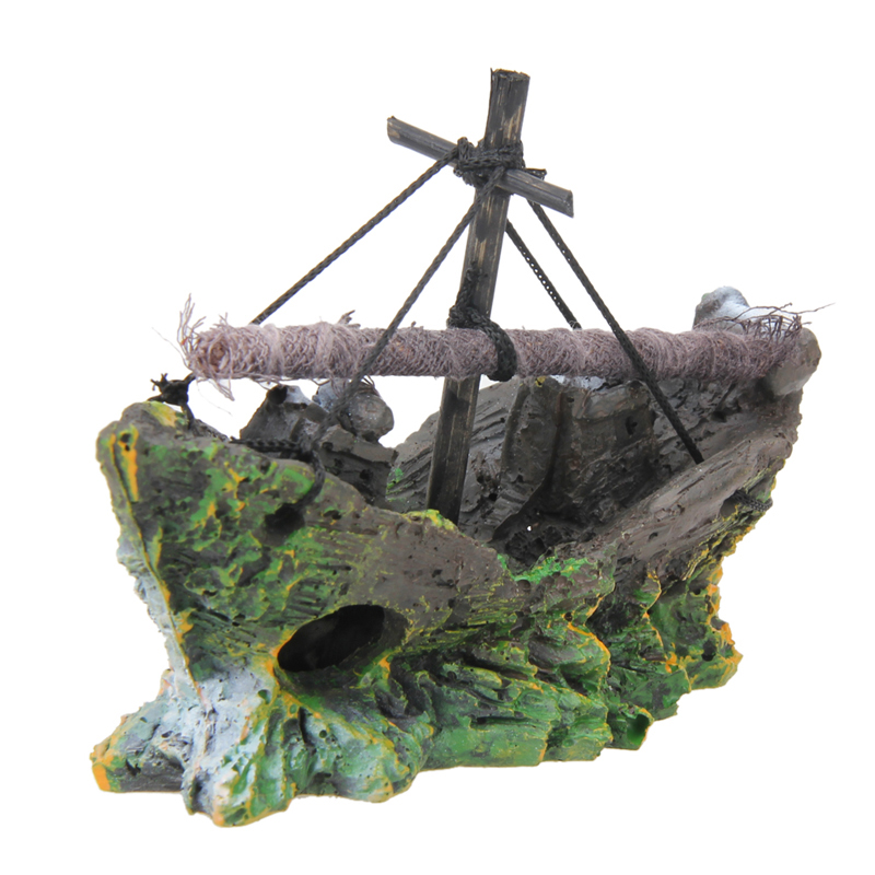 Reliable Wreck Ship Aquarium Ornament Sailing Boat Fish Tank Resin Ornament Landscaping Decorations