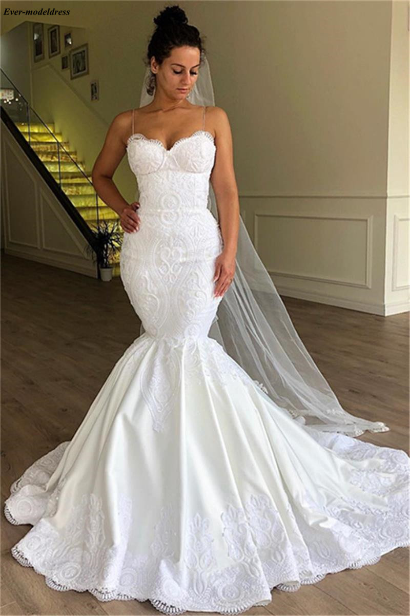 Us 16598 22 Offcharming Arabic Mermaid Wedding Dresses Spaghetti Straps Lace Appliques Lace Up Back Fitted Church Bridal Gowns Plus Size Robes In