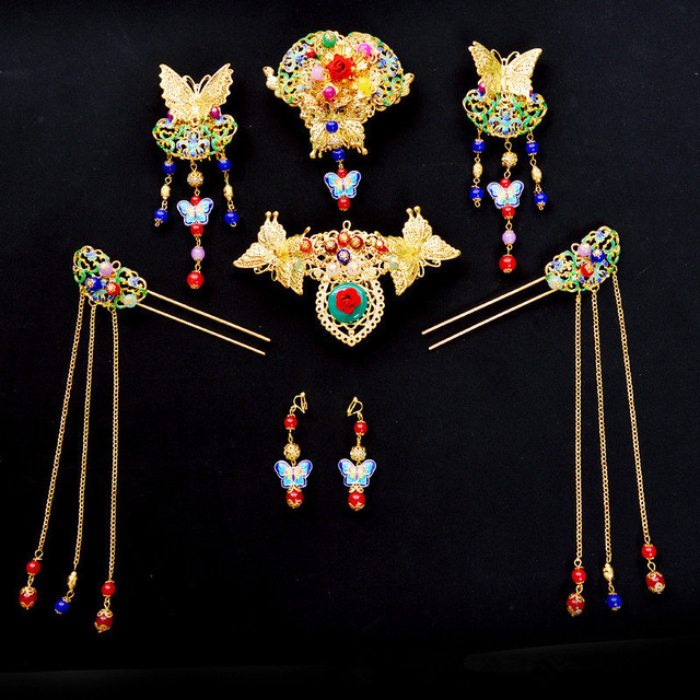 Vintage Chinese Style Classical Wedding Jewelry Sets Bridal Headdress Hair Accessories Coronet Gold Plated Cloisonne Earrings