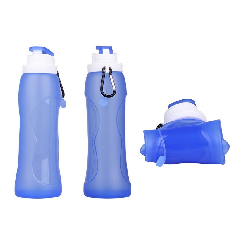 Creative Travel Outdoor Water Bottles Portable Dog Cat: 500ML Creative Foldable Silicone Outdoor Sport Water