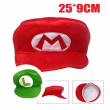 Anime cartoon toy Super Mario soft plush hat/cap adult cosplay costumes collectible clothing two color party prop kawai gift