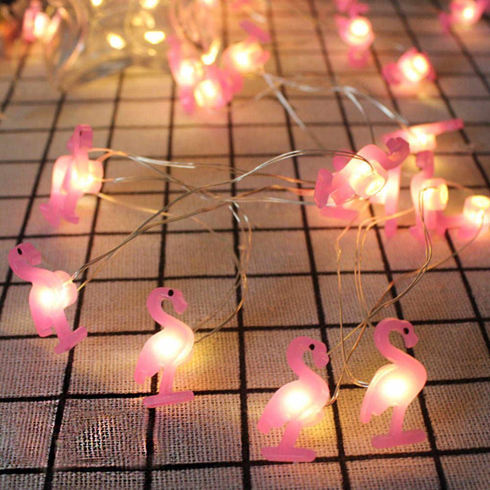 20pcs Flamingo Unicórnio LED Luz Cordas Havaí Partido Decoração Luzes De Fadas Festa de Aniversário de Casamento Decoração Do Partido Tropical de Abacaxi