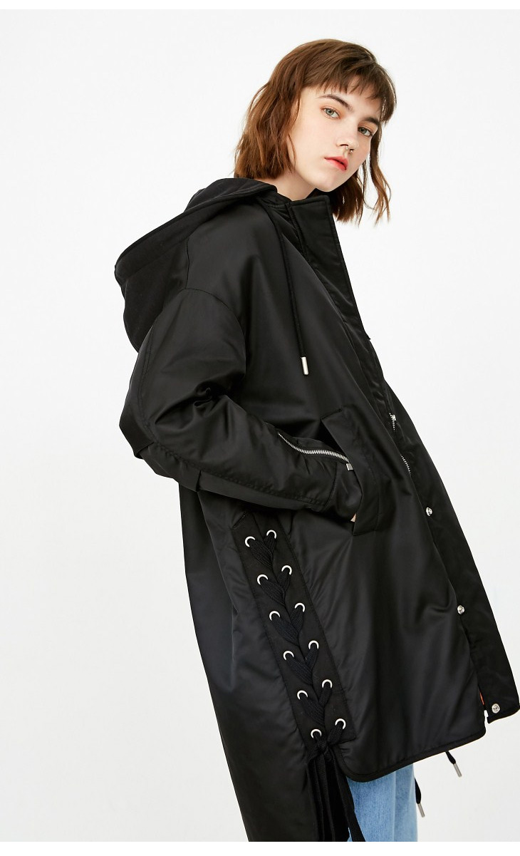 ONLY Women's Lace-up Hooded Cotton Coat |118122502 10