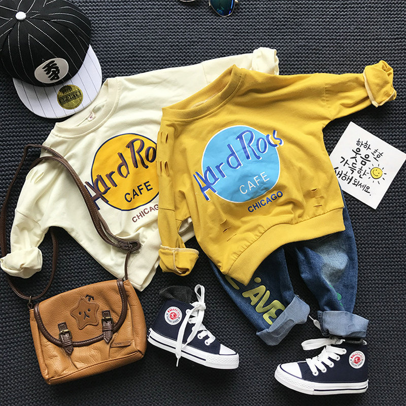 2017 New 2 Colors Baby Boys Spring Autumn Pullover Tops Boy Long Sleeve Letter T-Shirt Sweatshirt Clothing Toddler Clothes CC223