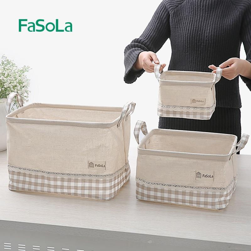 FaSoLa Lattice Linen Handle Desktop Debris Storage Basket Cabinet Small Cloth Collection Basket Makeup Organizer Rectangle