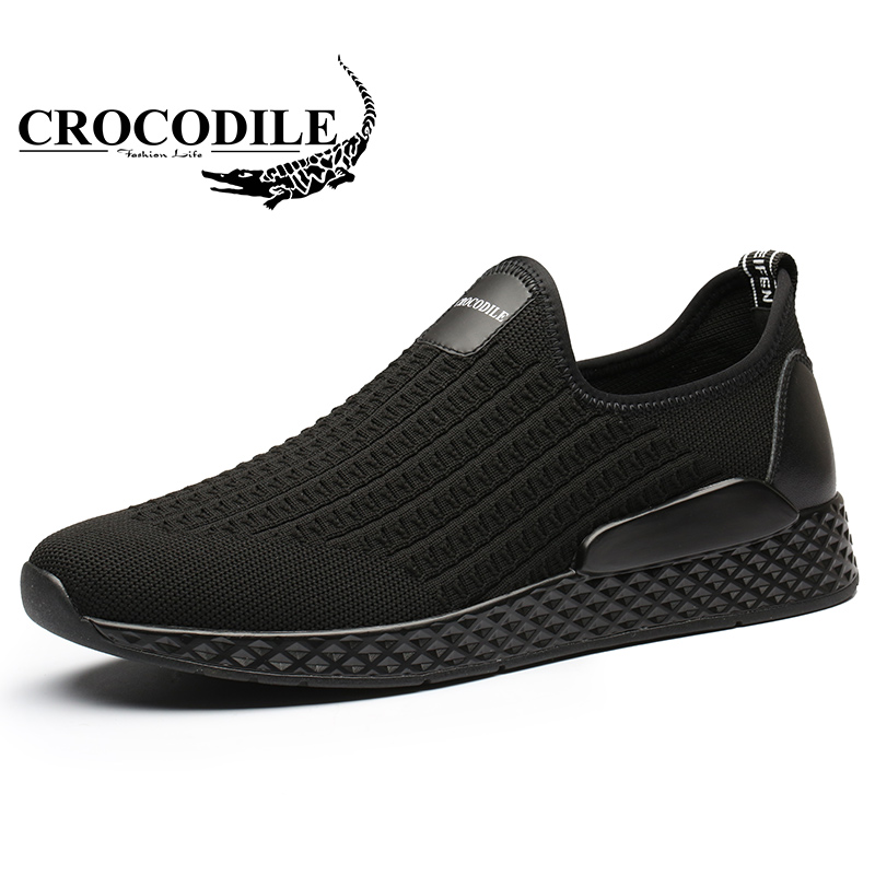 Crocodile Summer Men's Sports Shoes Men Mesh Breathable Light Running Shoes Male Flat Heel 18-40 Years Old Sneakers instantarts women flats emoji face smile pattern summer air mesh beach flat shoes for youth girls mujer casual light sneakers