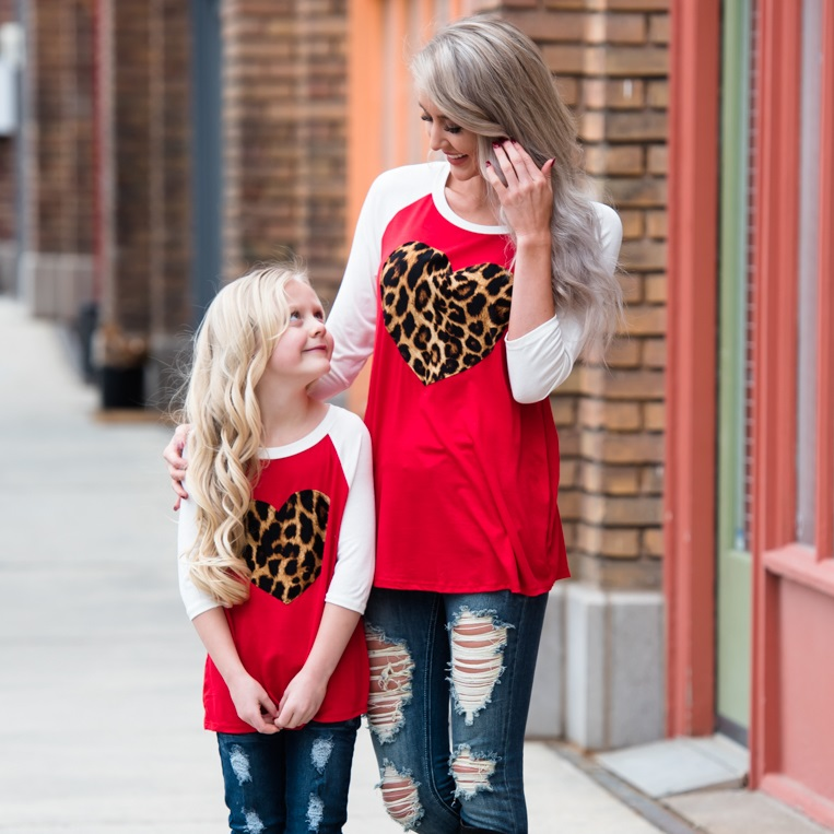 family set casual Tshirt mommy and me outfits mother mom mum daughter matching dresses look clothes full sleeve