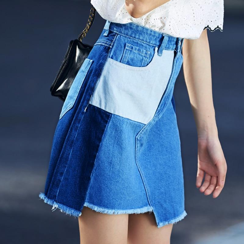 Suelto Mujer Elegante See Calidad De Cortas Bolsa Verano Nuevo Chart Denim Vestido Faldas 2018 Patchwork Superior Azul vX8qw