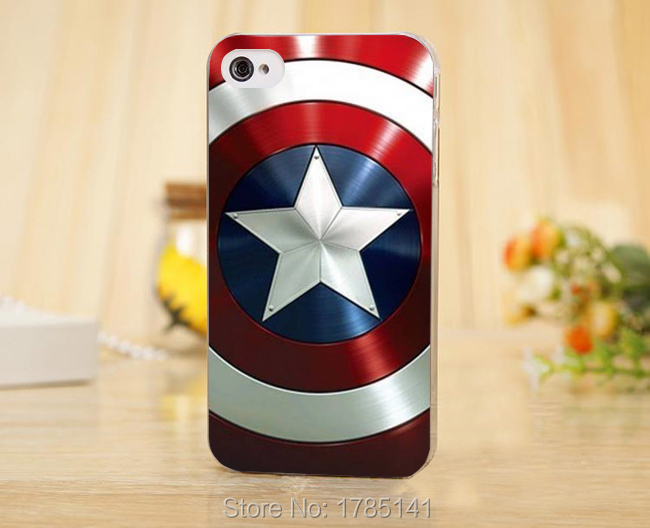1pcs Captain America Captain America's Shield hard Transparent Clear Skin Case for iphone 5 5s 4 4g 4S 5c Retail
