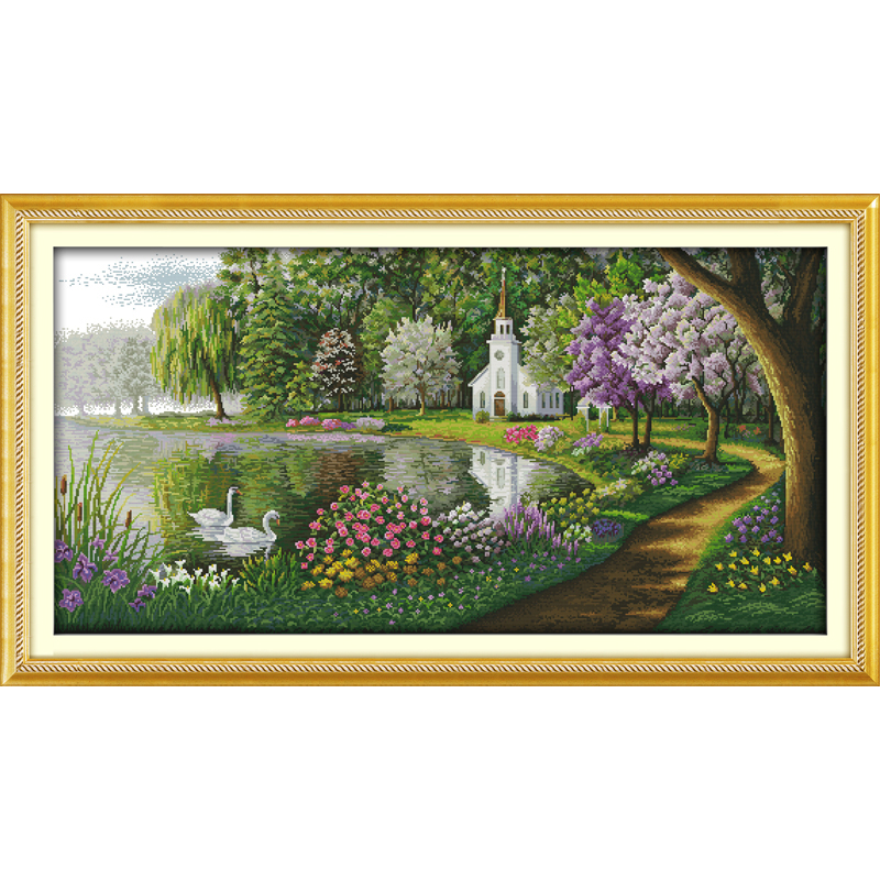 Everlasting love Green lake reflected color Chinese cross stitch kits Ecological cotton stamped 11 CT DIY Christmas decorations