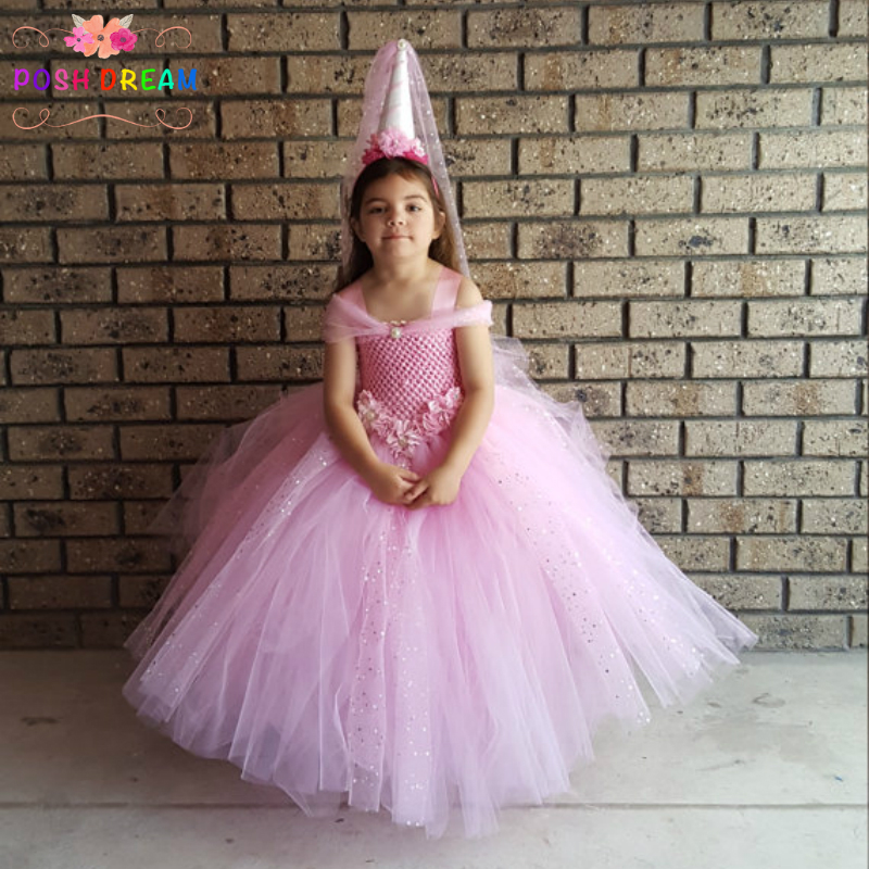 POSH DREAM Pink Glittery Ball Gown Kids Tutu Dress Pony Unicorn Party Children Costume Pink Sequins Tulle Flower Girl DressPOSH DREAM Pink Glittery Ball Gown Kids Tutu Dress Pony Unicorn Party Children Costume Pink Sequins Tulle Flower Girl Dress