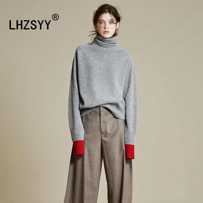 LHZSYY Autumn Winter New Long sleeve high quality Cashmere Sweater Turtleneck vogue Wool Loose pullover Women Sweater Soft shirt ryeon winter autumn sweater dresses big size women turtleneck long sleeve loose casual grey sexy pullover knitted sweater jumper