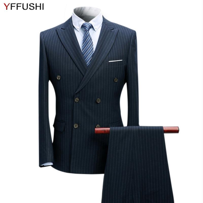 YFFUSHI 2018 Hommes Costume 3 Pièces Classique Rayé À Double Boutonnage Costumes Smoking De Mariage Costumes Pour Hommes Slim Fit Formelle