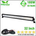 FREE shipping 180W 32'' inch 18000lms combo Beam driving light led car 4x4 offroad LED Light Bar work light 12v wiring harness