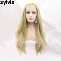 Sylvia Golden Yellow Hair Color Long Silky Straight Wigs Blonde Synthetic Lace Front Wigs Heat Resistant Fiber For Black Women