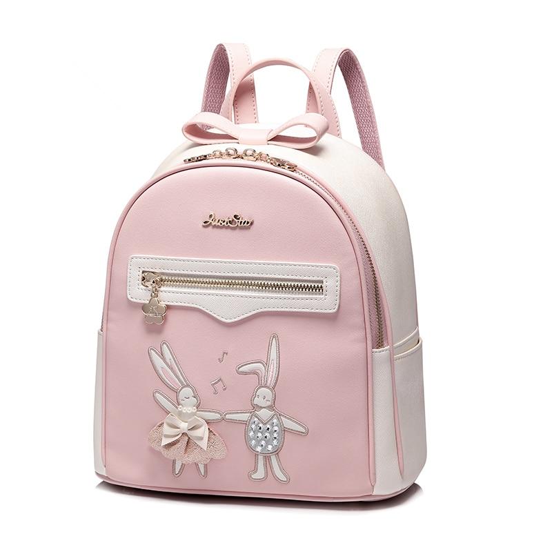 Rabbit dancing bag Students Pu backpack for teenagers girls Back Pack School Pink Backpacks Funny Preppy Shoulder Travel bag