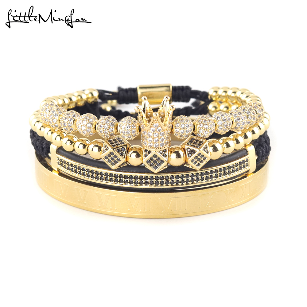 4pcs Set Luxury Copper beads King Crown Men Bracelet Stainless steel bangle CZ Ball macrame bracelets bangles for Men Jewelry in Charm Bracelets from Jewelry Accessories
